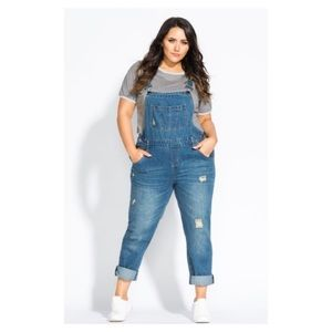 "City chic ""over it all"" distressed overalls"